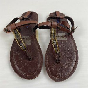 Piping Hot Brown Textured Palm Left Imprint Beaded Boho Sandals Shoes Size 9